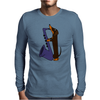 Funny Funky Dachshund dog laying a Blue Saxophone Art Mens Long Sleeve T-Shirt
