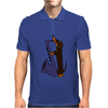 Funny Funky Dachshund dog laying a Blue Saxophone Art Mens Polo