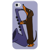 Funny Funky Dachshund dog laying a Blue Saxophone Art Phone Case
