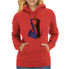 Funny Funky Dachshund dog laying a Blue Saxophone Art Womens Hoodie