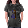 Funny Funky Dachshund dog laying a Blue Saxophone Art Womens Polo