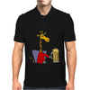 Funny Funky Giraffe Drinking Glass of Beer Mens Polo