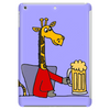 Funny Funky Giraffe Drinking Glass of Beer Tablet