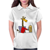 Funny Funky Giraffe Drinking Glass of Beer Womens Polo