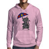 Funny Funky Gray Tabby Cat Holding Umbrella Mens Hoodie