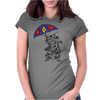 Funny Funky Gray Tabby Cat Holding Umbrella Womens Fitted T-Shirt