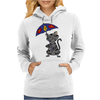 Funny Funky Gray Tabby Cat Holding Umbrella Womens Hoodie