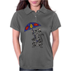 Funny Funky Gray Tabby Cat Holding Umbrella Womens Polo