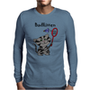 Funny Funky Grey Kitty Cat Playing Badminton Mens Long Sleeve T-Shirt