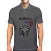 Funny Funky Grey Kitty Cat Playing Badminton Mens Polo