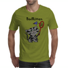 Funny Funky Grey Kitty Cat Playing Badminton Mens T-Shirt