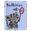 Funny Funky Grey Kitty Cat Playing Badminton Tablet