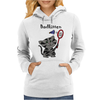 Funny Funky Grey Kitty Cat Playing Badminton Womens Hoodie
