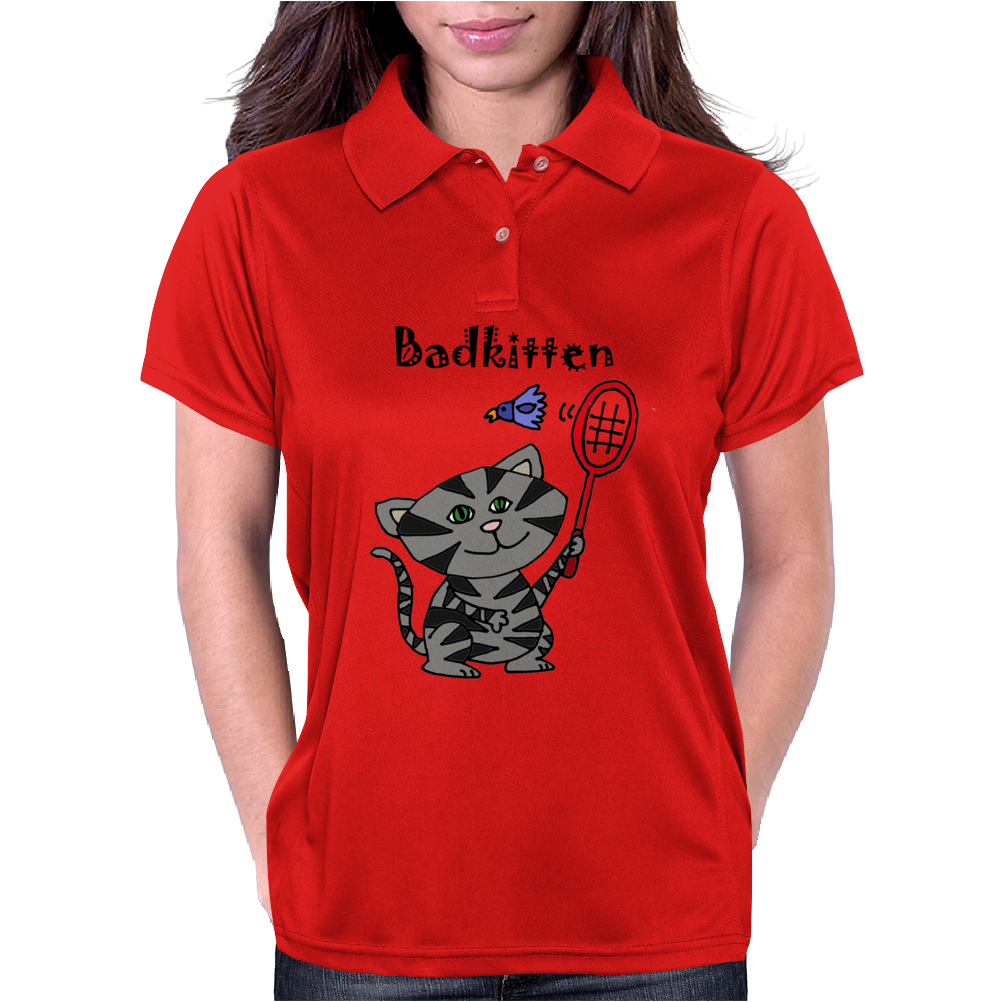 Funny Funky Grey Kitty Cat Playing Badminton Womens Polo