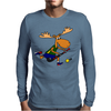 Funny Funky Moose Playing Field Hockey Mens Long Sleeve T-Shirt