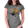 Funny Funky Moose Playing Field Hockey Womens Fitted T-Shirt