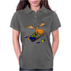 Funny Funky Moose Playing Field Hockey Womens Polo