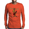 Funny Funky Moose Playing Red Guitar Mens Long Sleeve T-Shirt