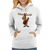 Funny Funky Moose Playing Red Guitar Womens Hoodie