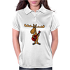 Funny Funky Moose Playing Red Guitar Womens Polo