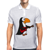 Funny Funky Penguin is Playing a Red Guitar Original Art Mens Polo