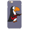 Funny Funky Penguin is Playing a Red Guitar Original Art Phone Case