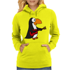 Funny Funky Penguin is Playing a Red Guitar Original Art Womens Hoodie