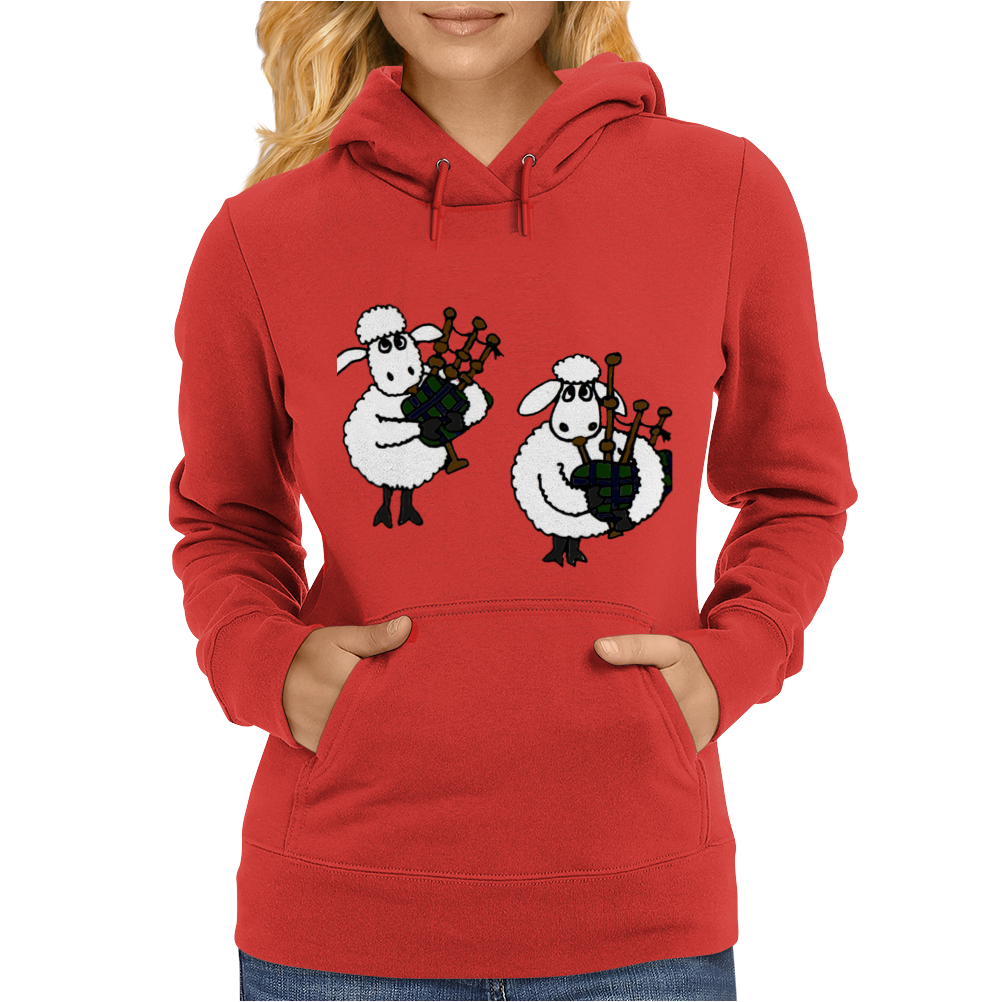 Funny Funky Sheep Playing the Bagpipes Art Womens Hoodie