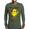 Funny Funky Wine Chick Cartoon Mens Long Sleeve T-Shirt