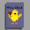 Funny Funky Wine Chick Cartoon Poster Print (Portrait)