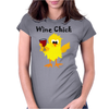 Funny Funky Wine Chick Cartoon Womens Fitted T-Shirt