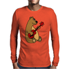 Funny Goofy Brown Bear Playing a Red Guitar Art Mens Long Sleeve T-Shirt