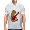 Funny Goofy Brown Bear Playing a Red Guitar Art Mens Polo