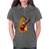 Funny Goofy Brown Bear Playing a Red Guitar Art Womens Polo