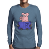 Funny Goofy Pink Pig Reading How to Fly Book Original Art Mens Long Sleeve T-Shirt