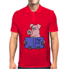 Funny Goofy Pink Pig Reading How to Fly Book Original Art Mens Polo