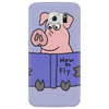 Funny Goofy Pink Pig Reading How to Fly Book Original Art Phone Case