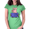 Funny Goofy Pink Pig Reading How to Fly Book Original Art Womens Fitted T-Shirt