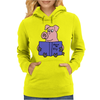 Funny Goofy Pink Pig Reading How to Fly Book Original Art Womens Hoodie