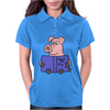 Funny Goofy Pink Pig Reading How to Fly Book Original Art Womens Polo