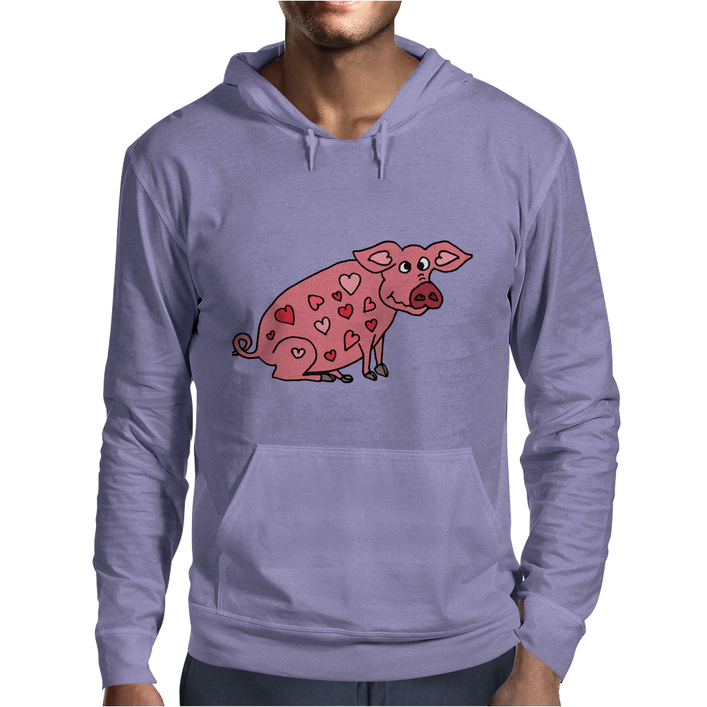 Funny Goofy Pink Pig with Hearts Original Art Mens Hoodie