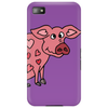 Funny Goofy Pink Pig with Hearts Original Art Phone Case
