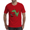 Funny Green Tyrannosaurus Rex Playing Golf Art Mens T-Shirt