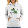 Funny Green Tyrannosaurus Rex Playing Golf Art Womens Hoodie