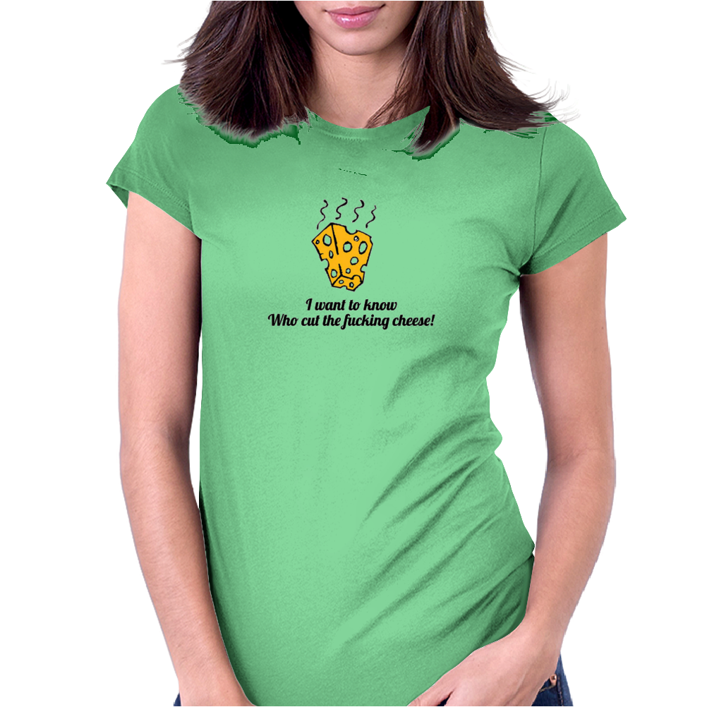 funny humour smile satire who cut the fucking cheese Womens Fitted T-Shirt