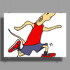 Funny Jogging Greyhound Dog Cartoon Poster Print (Landscape)