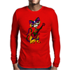 Funny Kitty Cat Playing Red Electric Guitar Mens Long Sleeve T-Shirt