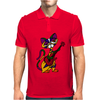 Funny Kitty Cat Playing Red Electric Guitar Mens Polo