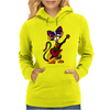 Funny Kitty Cat Playing Red Electric Guitar Womens Hoodie