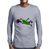 Funny Leaping Pickle Playing Pickleball Artwork Mens Long Sleeve T-Shirt